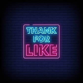Bedankt voor like neon signs style text