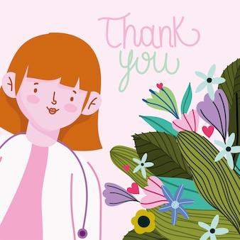 Bedankt, vrouwelijke arts cartoon met bloemen kaart illustratie
