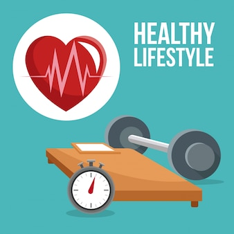 Bedchronometergewicht en hartpictogram