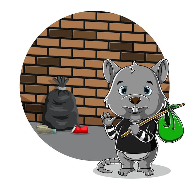 Bedelaar muis staat en houdt zijn tas vast met het droevige gezicht
