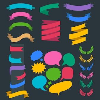 Bedelen set linten, lauwerkransen en tekstballonnen in vlakke stijl