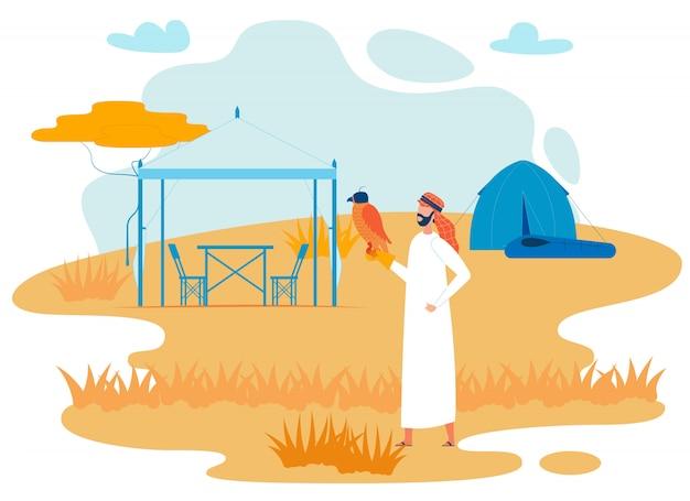 Bedoeïenen reiziger met hawk flat vector character