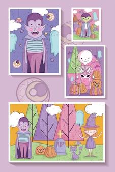 Bedrieg of behandel gelukkige halloween-illustratie