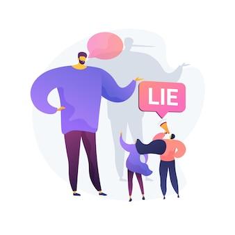 Bedrieglijke man die leugens vertelt. mensen met een megafoon beschuldigen leugenaar van bedrog. verspreide valse informatie, beschuldiging van fraude, oneerlijk persoon.