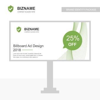 Bedrijf bill board ontwerp vector met sheild logo