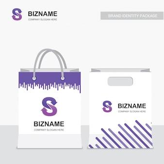 Bedrijf boodschappentassen ontwerp vector met creatief ontwerp met s-logo