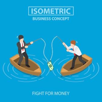 Bedrijf dat dollarbiljet probeert te krijgen met een hengel. concurrentie bedrijfsconcept.