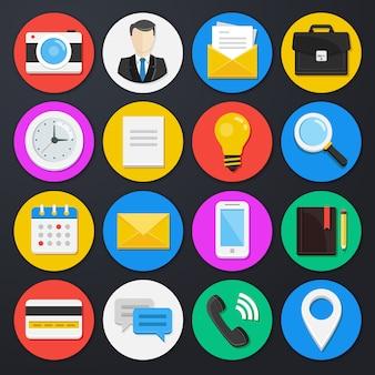 Bedrijf en kantoor icons set