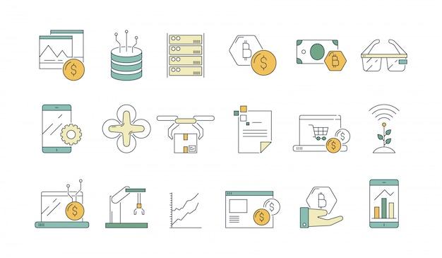 Bedrijf en technologie pictogram. hightech moderne software-industrie en engineering headset new reality-bril schetsen symbolen