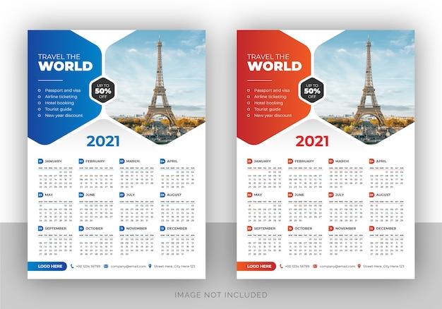 Bedrijf enkele pagina stijlvolle branding wandkalender ontwerpsjabloon
