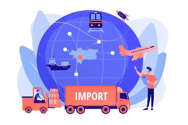 Bedrijf gespecialiseerd in buitenlandse producten. import van goederen en diensten, importgoederen, concept van internationaal verkoopproces. roze koraal bluevector geïsoleerde illustratie