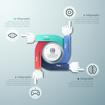 Bedrijf handen teamwerk infographics sjabloon