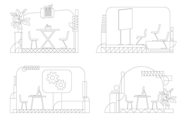 Bedrijf interieur omtrek set. contour compositie van lege zakelijke kamers