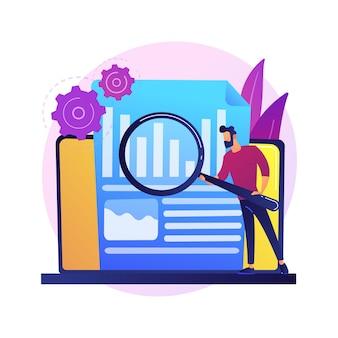 Bedrijf jaarverslag analyseren. bedrijfsanalyse, diagramanalyse, statistieken. werknemer bedrijf vergrootglas mannelijke stripfiguur.