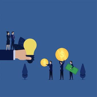 Bedrijf kopen verkoopt idee voor weinig grote geldmetafoor van prijs van idee.