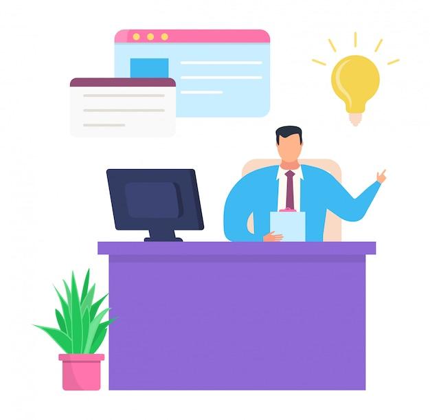 Bedrijf leider werk planning succesvolle idee, mannelijke karakter chef papierwerk op de werkplek op wit, illustratie.