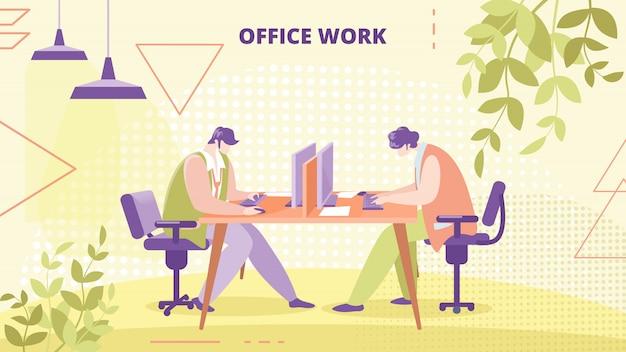 Bedrijf medewerkers kantoorwerk platte vector banner
