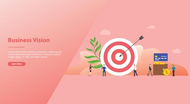 Bedrijf of mensen richten zich met grote dart en sommige mensen lopen rond voor websitesjabloon of startpagina met moderne vlakke stijl