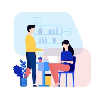 Bedrijf opstarten kantoor karakter illustratie