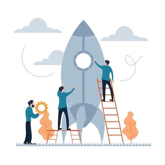 Bedrijf opstarten proces teamwerk platte cartoon stijl