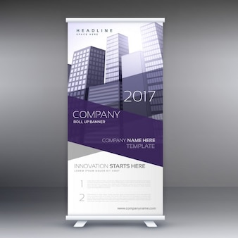 Bedrijf roll up banner met paarse vormen en gebouwen
