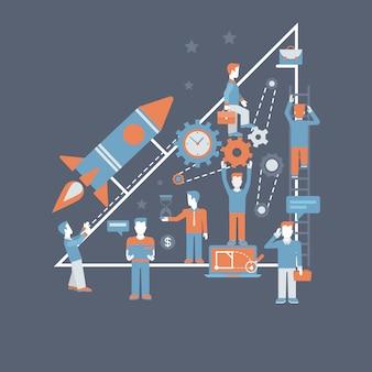 Bedrijf starten raketlanceringsproces start platte ontwerp concept illustratie.