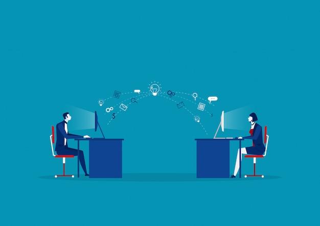 Bedrijf stuurt informatie naar computer creatief concept