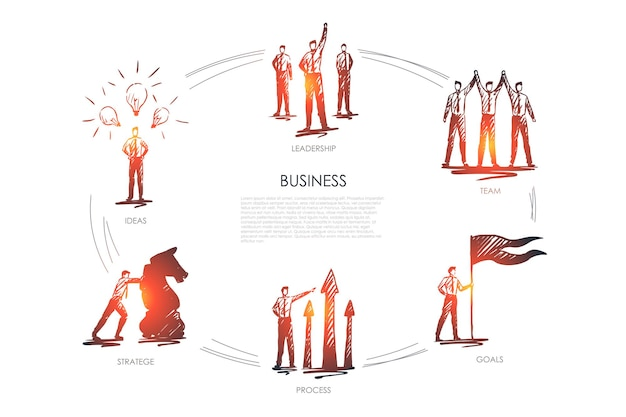 Bedrijf, team, doelen, strategie, ideeën, leiderschap infographic