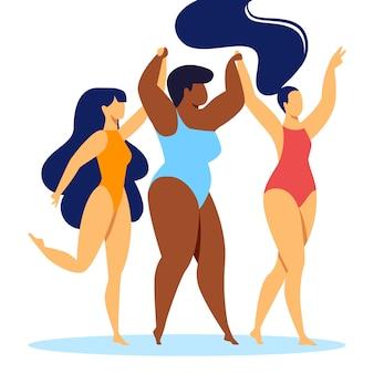 Bedrijf van happy multiracial multicultural girls
