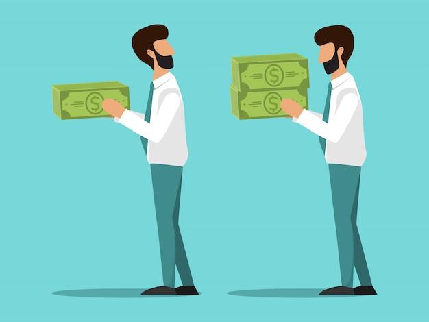 Bedrijf van verschillend salaris voor werknemers. cartoonmanagers met verschillende salarissen.