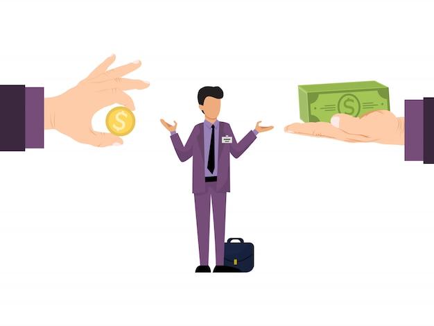 Bedrijf van verschillende salarisaanbieding voor werknemers. business manager met verschillende salarissen biedt.