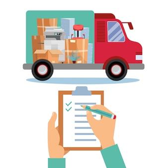 Bedrijf verhuizen. opslag, logistiek, lokaal leveringsbedrijf met kleine vrachtwagen met dozen