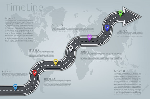 Bedrijf zakelijke auto weg gebogen pijl vorm wereldkaart mijlpaal