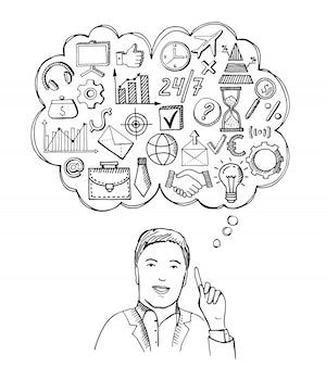 Bedrijfs concept illustratie. zakenman met verschillende dingen in gedachten.