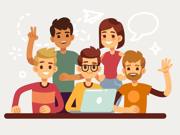 Bedrijfs creatief team, gelukkige coworking mensengroep. platte ontwerp voor website en teamwork concept. het teamvrouw en man van mensen, commerciële groepsillustratie