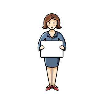 Bedrijfs dame die een wit blad van document houdt. infographic element. vector karakter