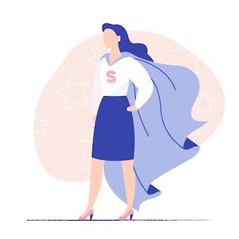 Bedrijfs dame die super heldenmantel draagt. vrouwenmacht, damebedrijf, moedige vrouw. platte vectorillustratie
