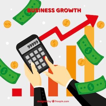 Bedrijfs de groeiconcept met calculator en geld