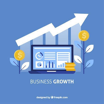 Bedrijfs de groeiconcept met laptop