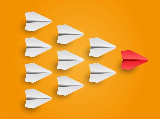 Bedrijfs- en leiderschapsconcept individuele rode leider papieren vliegtuig leidt andere vectorillustratie
