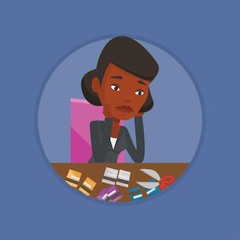 Bedrijfs failliete vrouw snijdend haar creditcard.