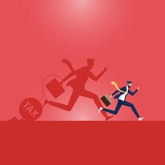 Bedrijfs financieel concept zakenman met schaduw weglopen van belasting