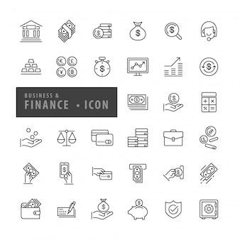 Bedrijfs geplaatste financiënpictogrammen, vector