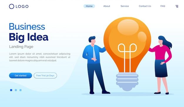 Bedrijfs groot idee landingspagina website illustratie vector sjabloon