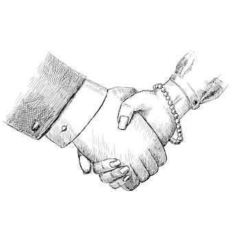 Bedrijfs handdruk man en vrouw