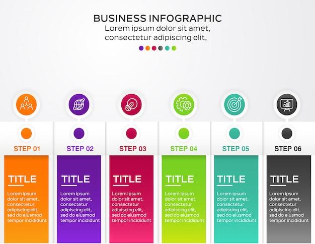 Bedrijfs infographic ontwerp met 6 stappen