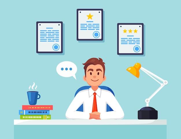 Bedrijfs mens die bij bureau werkt. kantoorinterieur met documenten, koffie. manager zittend op een stoel