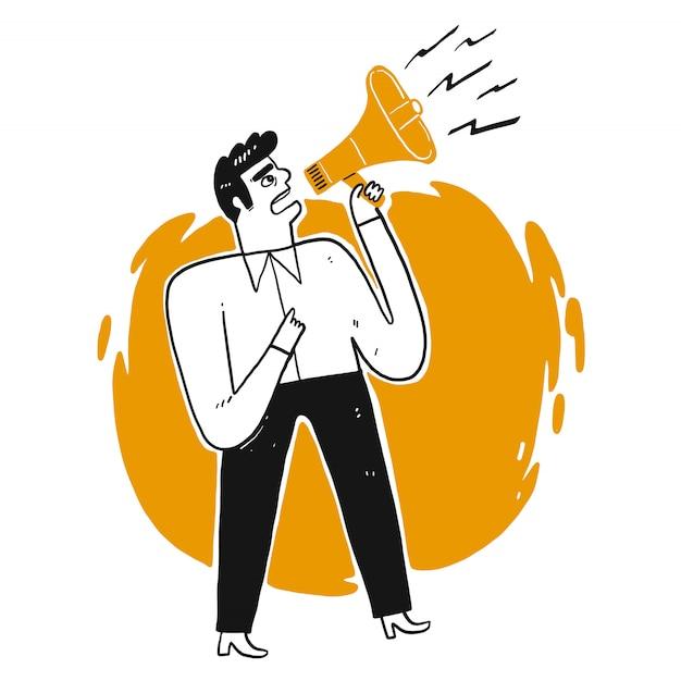 Bedrijfs mens die door luide spreker schreeuwt.