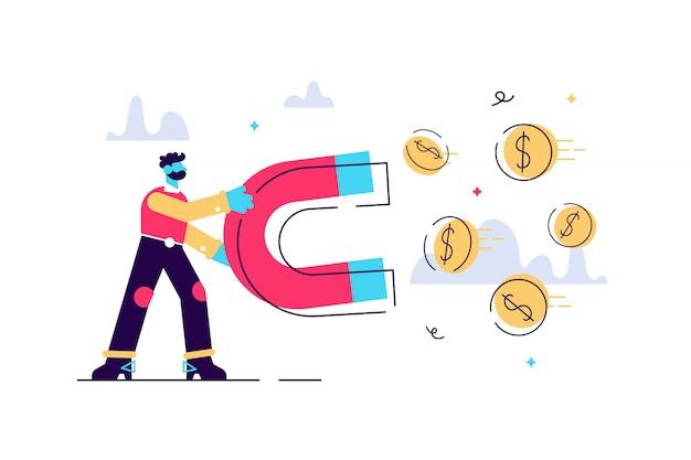 Bedrijfs mens die een grote magneet houdt en geld aantrekt. investering attractie concept.