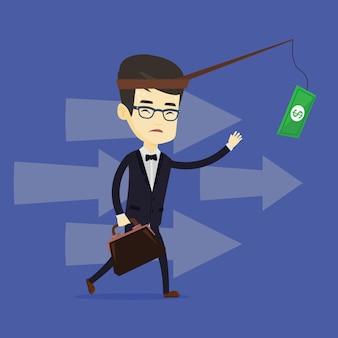 Bedrijfs mens die geld op hengel probeert te vangen